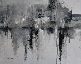 Original Abstract Painting on Paper Black and White Modern Minimalist Art 12x16,5""