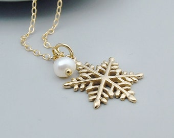 Gold Snowflake Necklace - 14k Gold Filled, Bronze Snowflake with Pearl, Winter Wedding