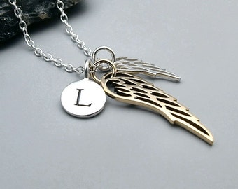 Personalized Double Wing Necklace, sterling silver, gold,  remembrance jewelry, dainty angel wing necklace, initial