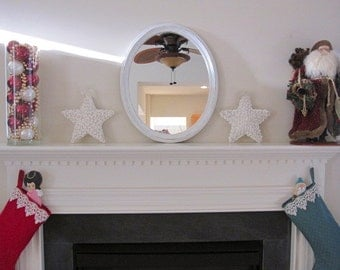 NEW PRICE...MIRROR, Oval Mirror, Shabby Chic Mirror, White Mirror, Solid Wood Mirror, Oval Mirror 18 x 22