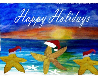 Santa Starfish Christmas Holiday Fleece Throw Blanket from my original art