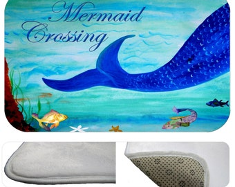 Mermaid Crossing bathmat from my art