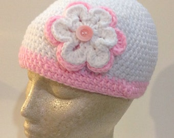 White and Pink Double Flowered Beanie