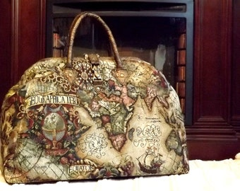 Mary Poppins Style Steampunk Carpet Bag / Travel Bag Old World Map Tapestry