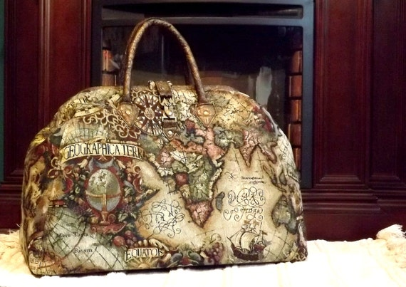 Mary Poppins Style Steampunk Carpet Bag Travel Bag Old World