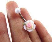 Belly Button Ring Jewelry, Light Pink White Rose Belly Button Ring Flower Navel Stud Jewelry Bar Barbell Piercing Belly Button Ring Jewelry