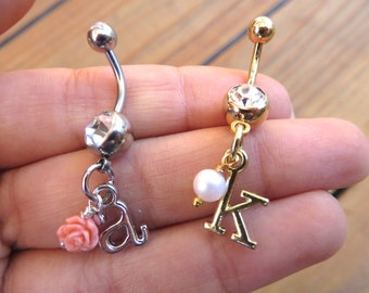 Belly Button Ring Jewelry. Custom Initial Charm Belly Button Ring Navel Jewelry Beaded Rose Pearl Amethyst Turquoise Heart Birthstone BR
