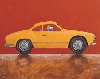 080 Karmann Ghia – dog driving print 14x14cm/5.5x5.5""