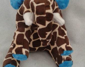Mixed Up Elephant - Giraffafant Super Soft - Soft Toy- Plushie - Smooth Minky Giraffe Print - Turquoise Minky Dot Fabric - stuffed animal