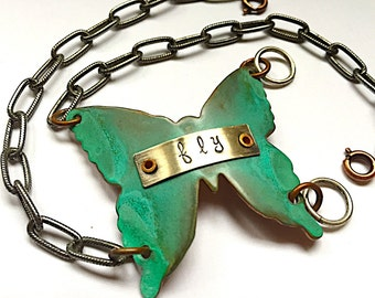 Verdigris Butterfly Wrap Bracelet