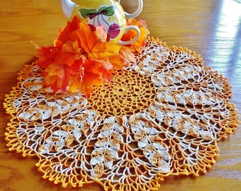 18 1/2 inch Wheat Harvest Doily-variegated yellows