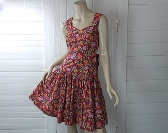 80s Floral Party Dress by Laura Ashley- 1980s- Red & Apricot- Open Back + Bow- Small