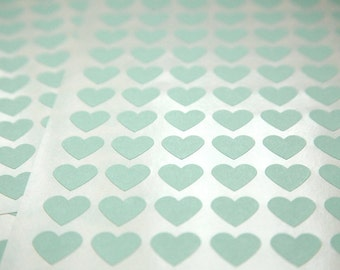 108 Mint  Heart Stickers - FREE SHIPPING with other purchase