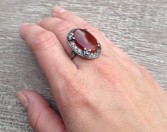 Vintage Carnelian Ring Marcasite Art Deco Sterling