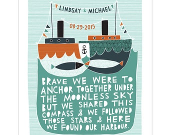 Our Harbour - Personalised Wedding / Anniversary Print