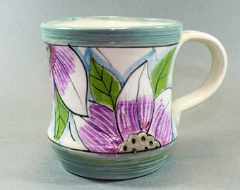 Handmade Pottery Mug, featuring floral pale pastel colors. Ceramic SKU1410-16