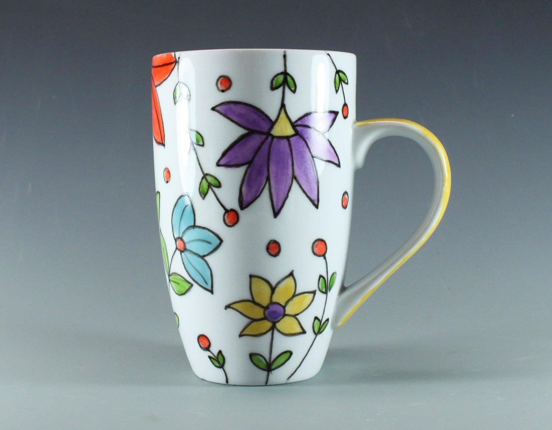 Handmade pottery mug spring flowers hand painted china for How to paint a mug
