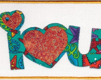 I Love You Quilted Fabric Postcard