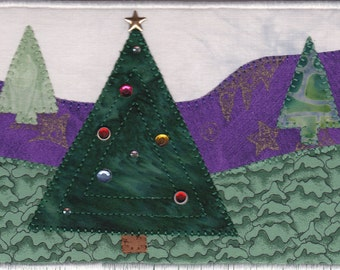 Christmas Tree Farm Quilted Fabric Postcard