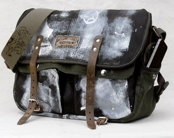 Painted Leather Messenger Bag, Classic Messenger Bag,  Distressed Recycled Leather Jacket, German Army Duffle / Upcycled in GERMANY-2096