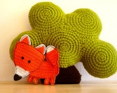 Fox Coaster - Crochet Fox - Orange Fox - Crochet Coaster - Animal Coaster - Woodland Decor - Fox Applique - Fox Trivet - Valentines Gift