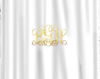 Monogrammed Shower Curtain Etsy