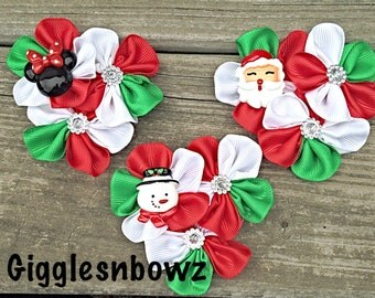 DeSiGN YouR OWN Embellished Grosgrain CLuSTeR Flowers- CHRISTMaS TiME- NEW  2.5-3 inch Size