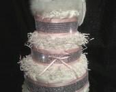 Heaven Sent Diaper Cake, Angel Diaper Cake, Cupid Diaper Cake, 3 Tier Diaper Cake, Available in Pink, Blue or White