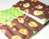Handmade Crayon Wallet - Tossed Owls in Brown - owl theme party favor.art wallet.birthday gift.crayon holder - Crayons and Pad NOT INCLUDED
