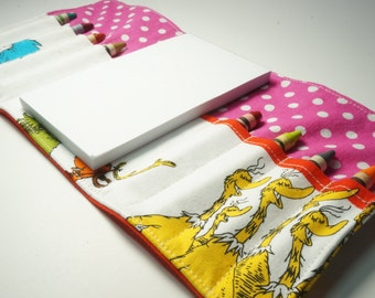 Handmade Crayon Wallet - Dr Seuss Character Stripe - art wallet.toddler gift.party favor.ready to ship - Crayons and Pad NOT INCLUDED