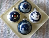 Vintage 1985 Hallmark Keepsake Ornaments, Set of 4, The Country Collection, Blue & White Quilt Designs by Mary Emmerling, Speckle Ware Look