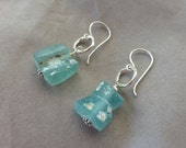 Ancient Roman Turquoise Glass and Fine Silver Earrings