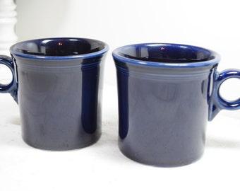 Cobalt blue Mugs / Fiesta / royal navy blue / post 1986 color Fiesta / Winter blue coffee mugs / Fiesta ware / made in USA / sapphire blue
