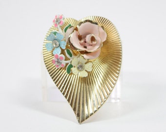 Coro Heart Pin / Flower Brooch with Enamel flowers and Rhinestones / Vintage Coro gold metal Pin / Easter / birthday / Mother / Valentine