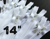 14 Inch white YKK zippers, Twenty-five pcs, YKK color 501, dress, skirt, pouch zippers