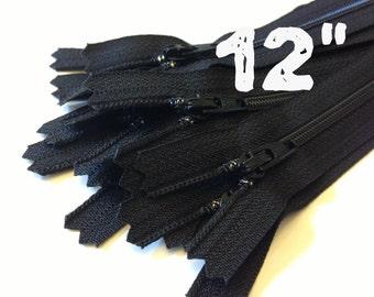 12 Inch black YKK zippers, 25 pcs, YKK color 580, dress, skirt, pouch, all purpose zippers