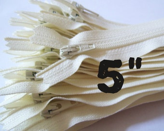 5 Inch Vanilla  zippers, ivory, off white, dress, pouch, all purpose zippers, Choose Ten, Twenty-five, or Fifty pcs