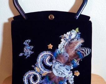 Antique Midas of Miami Black Velvet Purse lucite handles with  Beads, feathers StilettoRanch Vintage Perfection