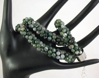 Faceted Moss Agate Stone Crochet Necklace