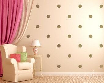 "Gold Polka Dot Wall Decals, Polka Dot Stickers Kids Wall Decals, Peel and Stick, 2.5"" Polka Dots"