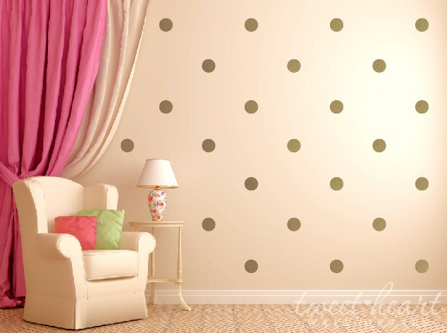Gold Polka Dot Wall Decals Polka Dot Stickers Kids Wall - Wall decals polka dots