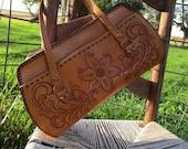 Vintage Leather Hand Bag Tooled Western Floral Flower Brown Tooling