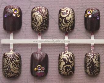 Imperial. Fake Nails, Active Length, Short Fake Nails, False Nails, Press On Nails, Purple, Gold False Nails Set, Jewels, Japanese Nail Art