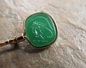 Vintage Gold Tone Key Brooch or Pin with a Green Intaglio Warrior or Soldier