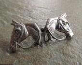Vintage Sterling Silver Horse Head Earrings, Equestrian Style, Screwbacks
