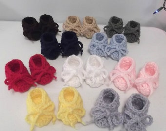 Five Pair Cozy Baby Ankle Booties -  newborn or 0-3 mo - boy or girl color choices
