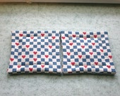 blue and white checks with hearts vintage fabric set of set of 2 potholders hot pads