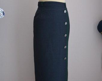 70s Grey Pencil Skirt Maxi Skirt Column Tight Long Wool Small