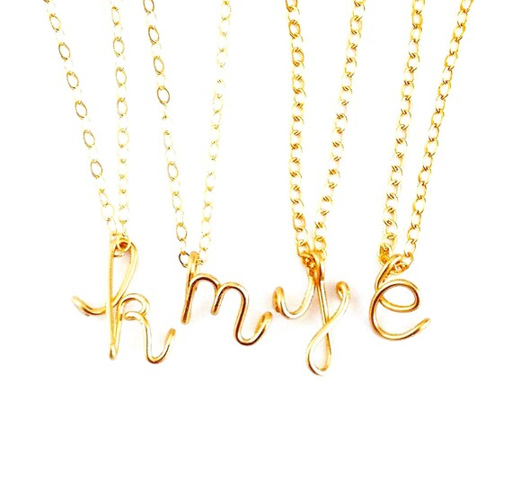 Gold lowercase letter pendant gold filled initial necklace for Lowercase letter necklace