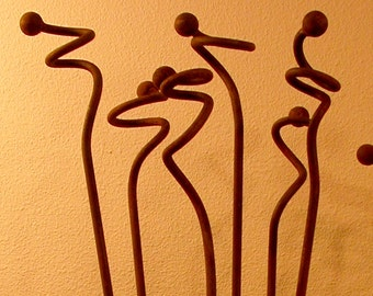 Metal Garden Art Sculpture -Curly Weeds-Garden Stakes-Sold Individually